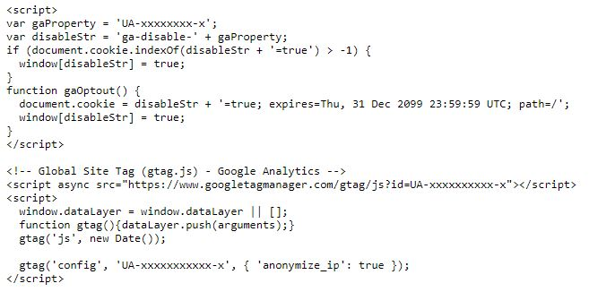 Google Analytics Tracking Code komplett