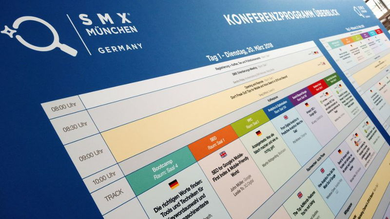 Session-Board der SMX 2018 in München
